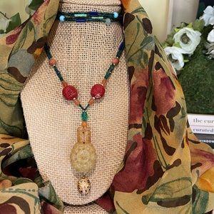 Vintage Carved Nephrite Jade Pendant Bead Necklace